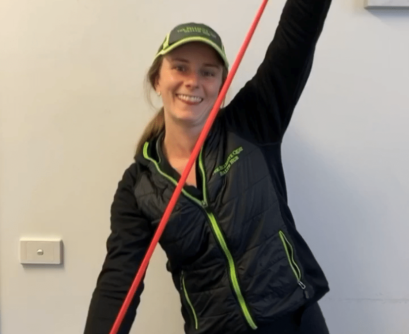 Courtney Dowling and Resistance band at Your Health Hub